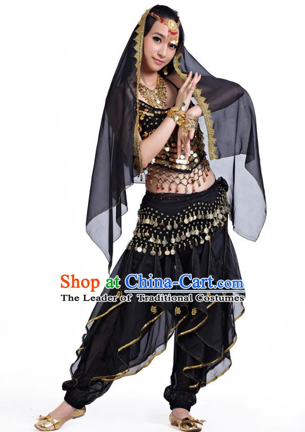 Indian Oriental Belly Dance Black Costume, India Raks Sharki Bollywood Dance Clothing for Women