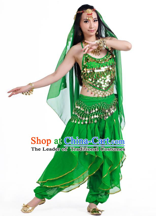 Indian Oriental Belly Dance Green Costume, India Raks Sharki Bollywood Dance Clothing for Women