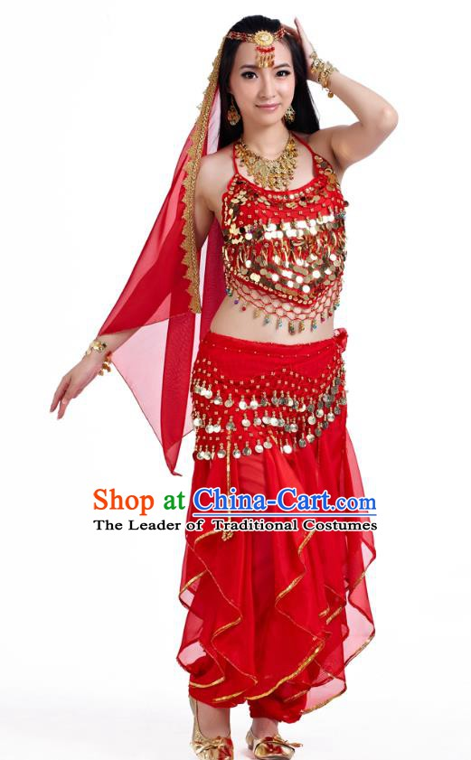 Indian Oriental Belly Dance Red Costume, India Raks Sharki Bollywood Dance Clothing for Women