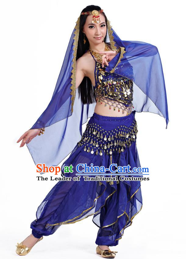 Indian Oriental Belly Dance Royalblue Costume, India Raks Sharki Bollywood Dance Clothing for Women