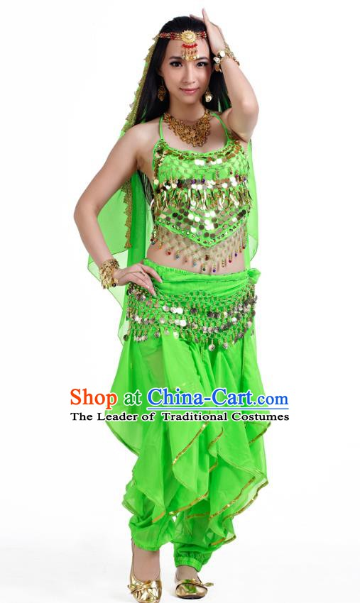 Indian Oriental Belly Dance Light Green Costume, India Raks Sharki Bollywood Dance Clothing for Women