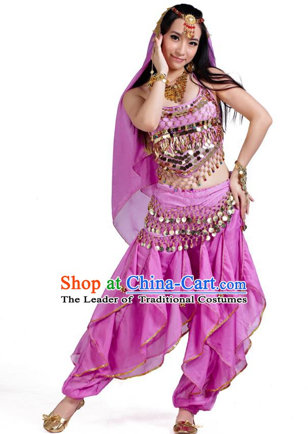 Indian Oriental Belly Dance Lilac Costume, India Raks Sharki Bollywood Dance Clothing for Women