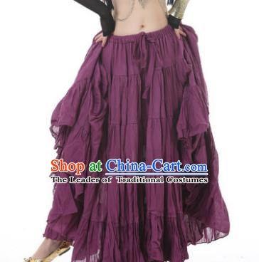 Indian Oriental Belly Dance Costume Purple Bust Skirt, India Raks Sharki Bollywood Dance Clothing for Women