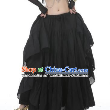 Indian Oriental Belly Dance Costume Black Bust Skirt, India Raks Sharki Bollywood Dance Clothing for Women