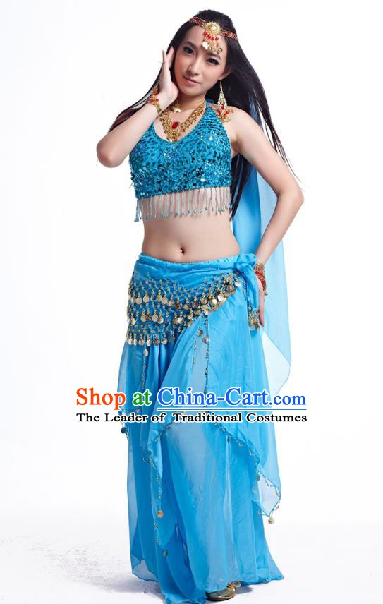 Indian Belly Dance Costume Oriental Dance Blue Dress, India Raks Sharki Bollywood Dance Clothing for Women