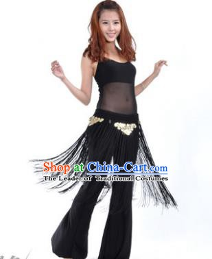 Indian Belly Dance Yoga Black Suits, India Raks Sharki Dance Clothing for Women