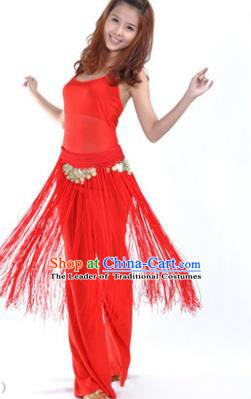 Indian Belly Dance Yoga Red Suits, India Raks Sharki Dance Clothing for Women