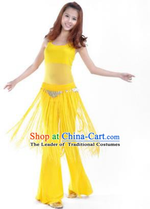 Indian Belly Dance Yoga Yellow Suits, India Raks Sharki Dance Clothing for Women