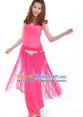 Indian Belly Dance Yoga Rosy Suits, India Raks Sharki Dance Clothing for Women
