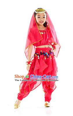 Top Indian Belly Dance Rosy Costume Oriental Dance Stage Performance Clothing for Kids
