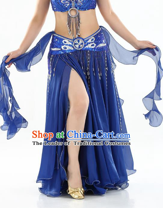 Top Indian Belly Dance Costume High Split Royalblue Skirt Oriental Dance Stage Performance Clothing for Women