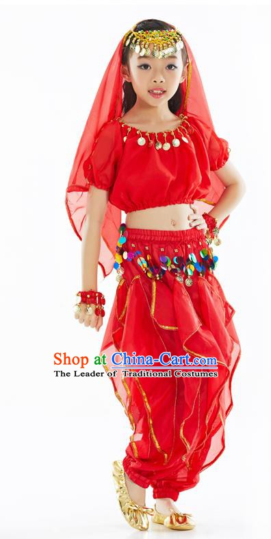 Top Indian Belly Dance Red Costume Oriental Dance Stage Performance Clothing for Kids