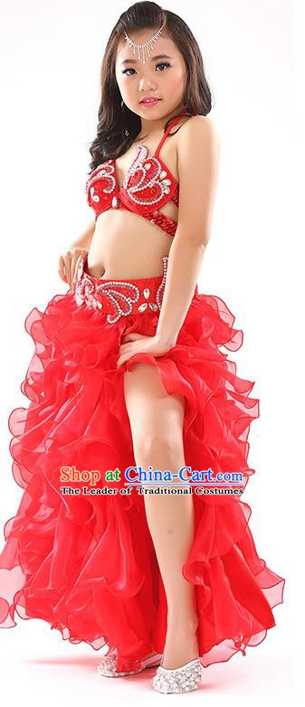 Top Indian Belly Dance Costume Bollywood Oriental Dance Stage Performance Red Dress for Kids