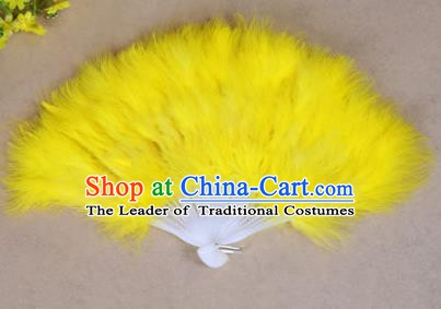 China Folk Dance Folding Fans Yanko Dance Yellow Feather Fans for Women