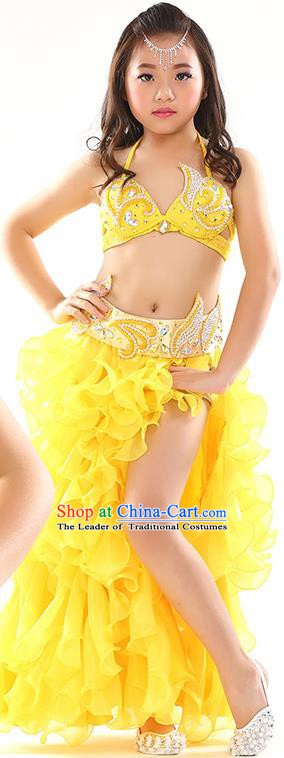 Top Indian Belly Dance Costume Bollywood Oriental Dance Stage Performance Yellow Dress for Kids