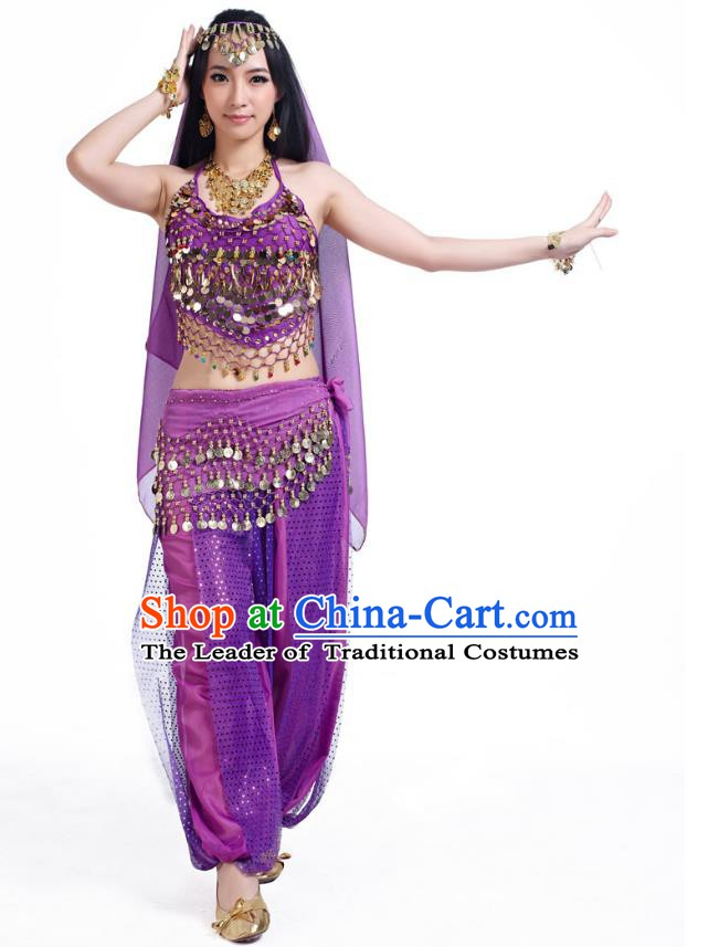 Indian Belly Dance Costume Bollywood Oriental Dance Purple Clothing for Women