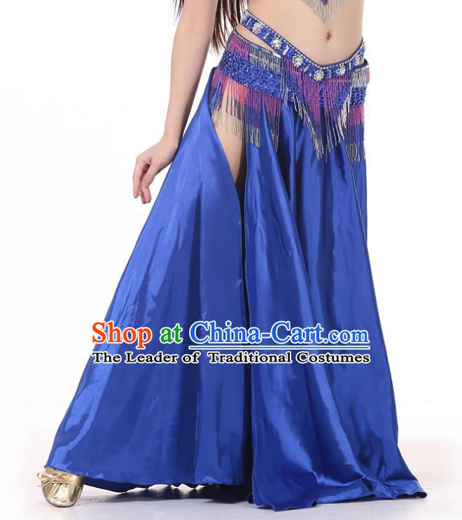 Indian Belly Dance Costume Bollywood Oriental Dance Royalblue Satin Skirt for Women