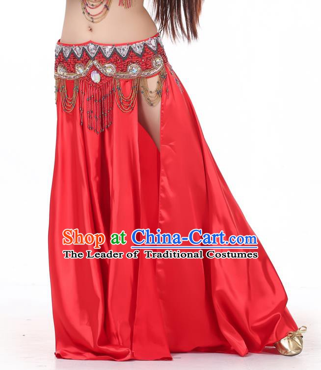 Indian Belly Dance Costume Bollywood Oriental Dance Red Satin Skirt for Women