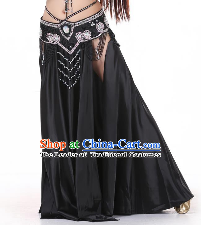 Indian Belly Dance Costume Bollywood Oriental Dance Black Satin Skirt for Women