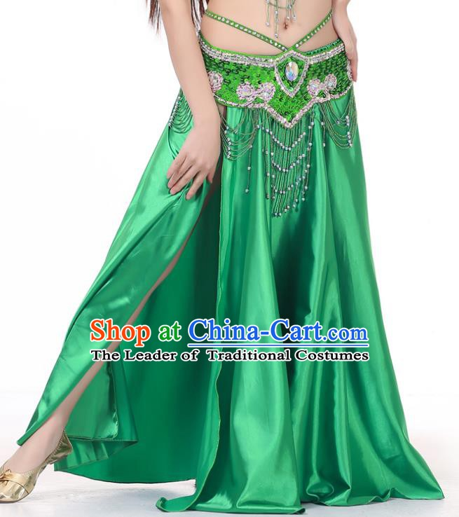 Indian Belly Dance Costume Bollywood Oriental Dance Green Satin Skirt for Women
