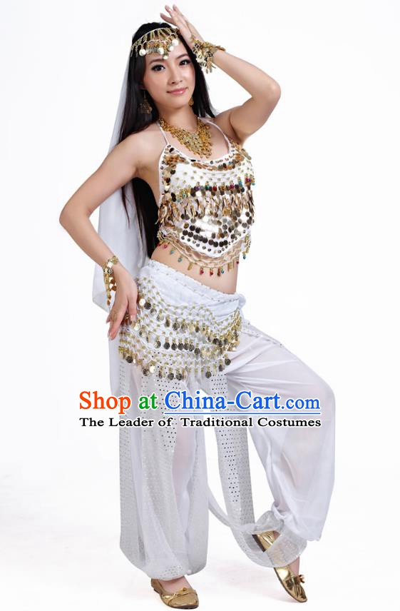 Indian Belly Dance Costume Bollywood Oriental Dance White Clothing for Women