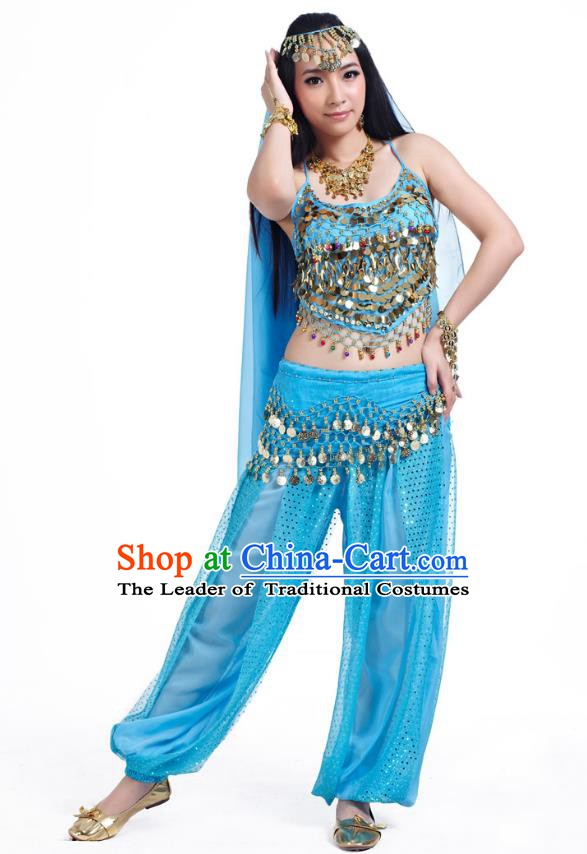 Indian Belly Dance Costume Bollywood Oriental Dance Blue Clothing for Women