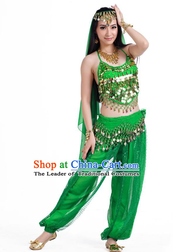 Indian Belly Dance Costume Bollywood Oriental Dance Green Clothing for Women