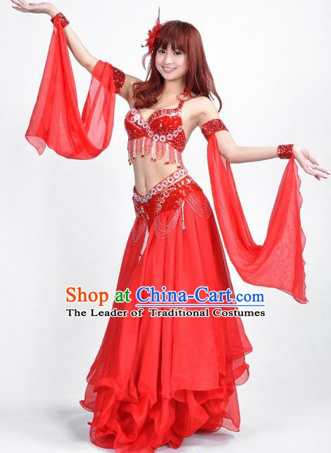Indian Belly Dance Red Dress Bollywood Oriental Dance Clothing for Women