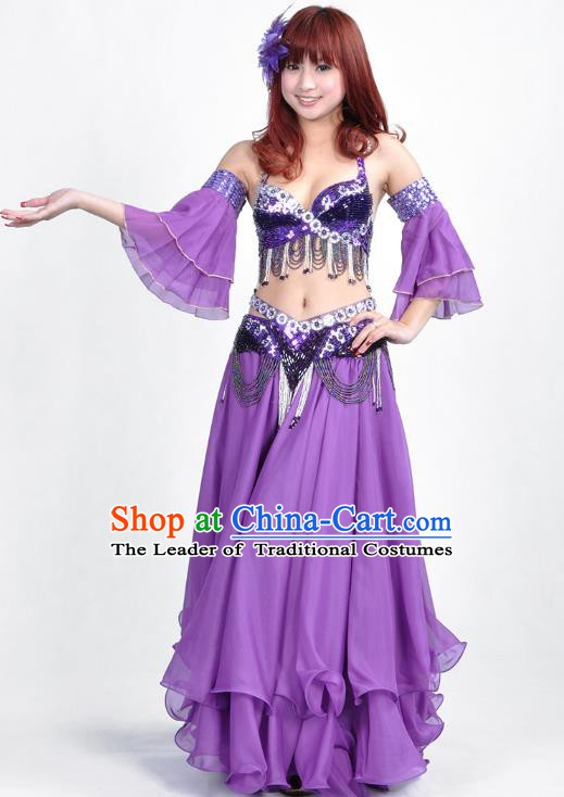 Indian Belly Dance Purple Dress Bollywood Oriental Dance Clothing for Women