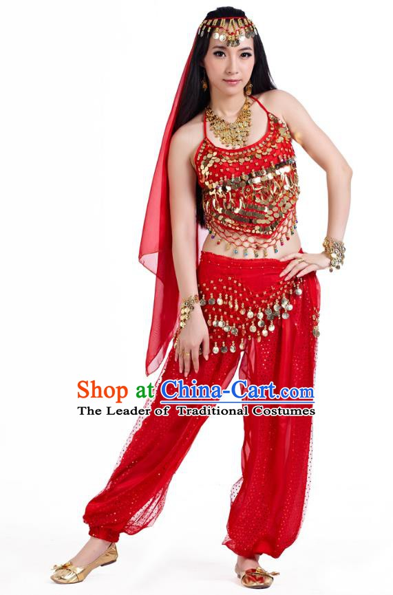 Indian Belly Dance Costume Bollywood Oriental Dance Red Clothing for Women