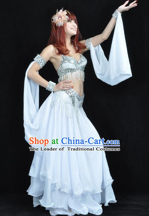 Indian Belly Dance White Dress Bollywood Oriental Dance Clothing for Women