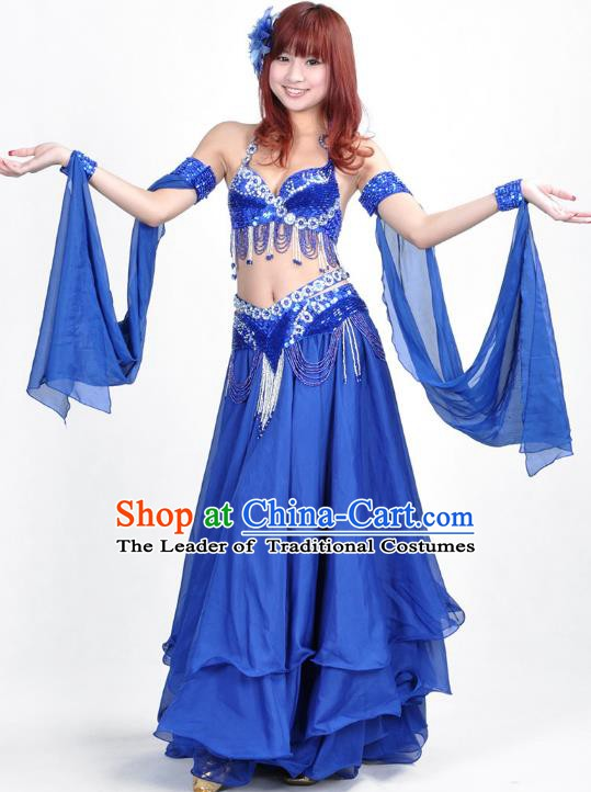 Indian Belly Dance Royalblue Dress Bollywood Oriental Dance Clothing for Women