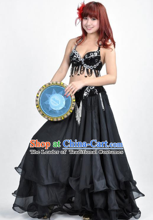 Indian Belly Dance Black Dress Bollywood Oriental Dance Clothing for Women