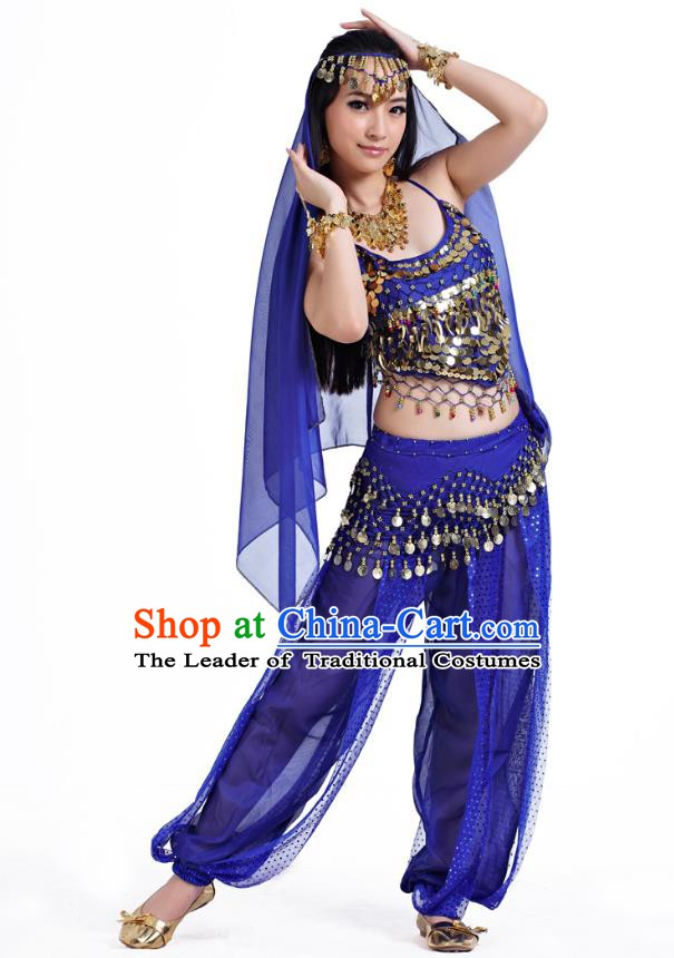 Indian Belly Dance Costume Bollywood Oriental Dance Royalblue Clothing for Women