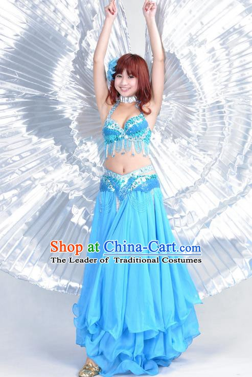 Indian Belly Dance Blue Dress Bollywood Oriental Dance Clothing for Women