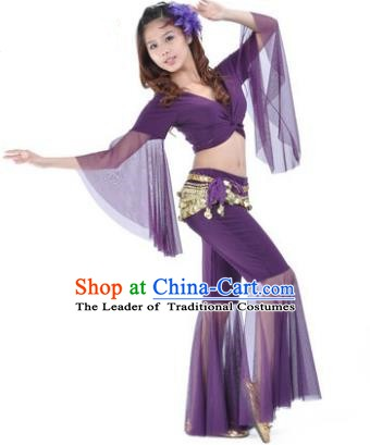 Asian Indian Belly Dance Training Purple Uniform India Bollywood Oriental Dance Clothing for Women