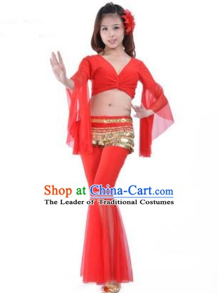 Asian Indian Belly Dance Training Red Uniform India Bollywood Oriental Dance Clothing for Women