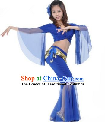 Asian Indian Belly Dance Training Royalblue Uniform India Bollywood Oriental Dance Clothing for Women