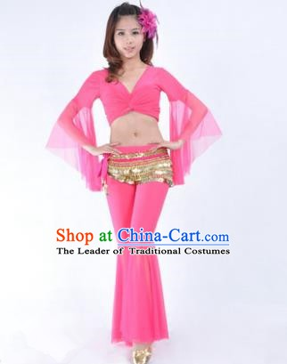 Asian Indian Belly Dance Training Pink Uniform India Bollywood Oriental Dance Clothing for Women