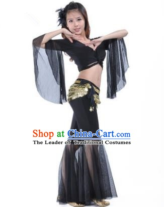Asian Indian Belly Dance Training Black Uniform India Bollywood Oriental Dance Clothing for Women
