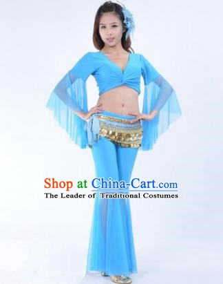 Asian Indian Belly Dance Training Blue Uniform India Bollywood Oriental Dance Clothing for Women