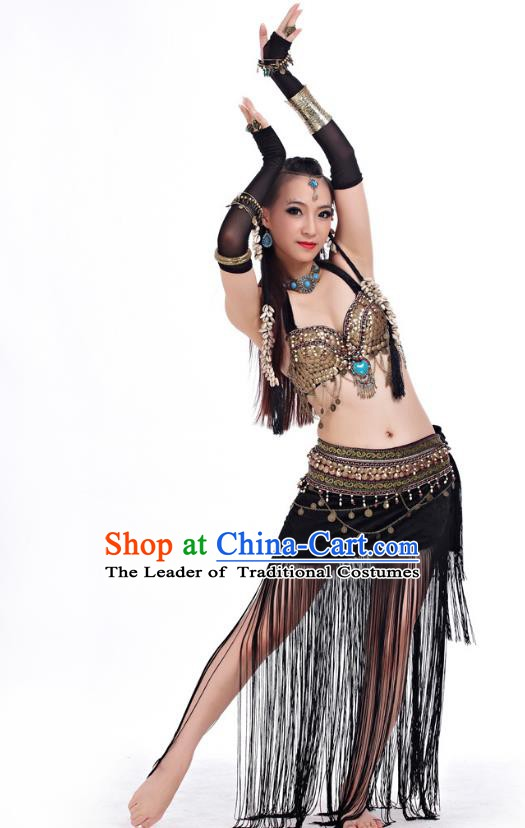 Asian Indian Belly Dance Primitive Tribe Dance Black Costume India Bollywood Oriental Dance Clothing for Women