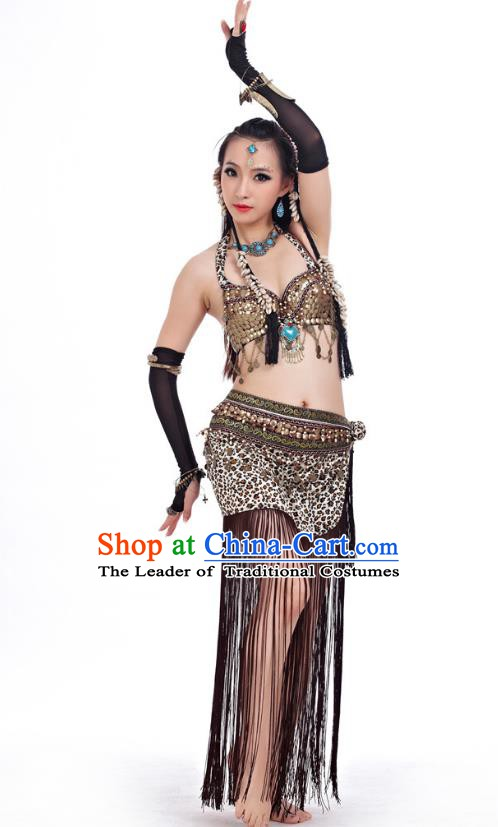 Asian Indian Belly Dance Primitive Tribe Dance Leopard Costume India Bollywood Oriental Dance Clothing for Women