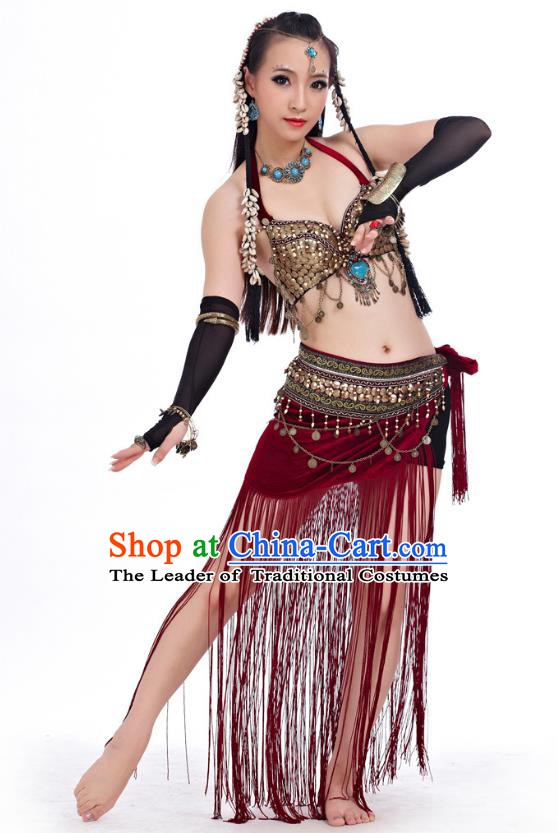 Asian Indian Belly Dance Primitive Tribe Dance Red Costume India Bollywood Oriental Dance Clothing for Women