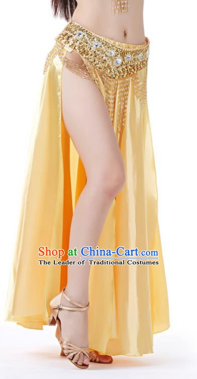 Indian Belly Dance Costume Bollywood Oriental Dance Light Yellow Satin Skirt for Women