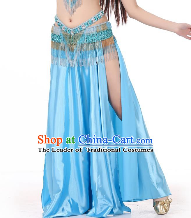 Indian Belly Dance Costume Bollywood Oriental Dance Blue Satin Skirt for Women
