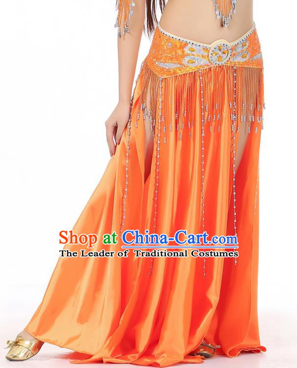 Indian Belly Dance Costume Bollywood Oriental Dance Orange Satin Skirt for Women