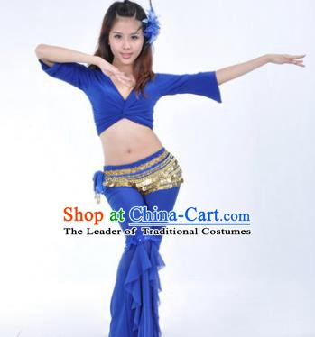 Indian Traditional Belly Dance Deep Blue Uniform Asian India Oriental Dance Costume for Women