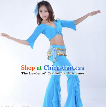 Indian Traditional Belly Dance Blue Uniform Asian India Oriental Dance Costume for Women