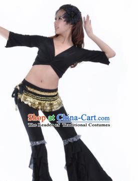 Indian Traditional Belly Dance Black Uniform Asian India Oriental Dance Costume for Women